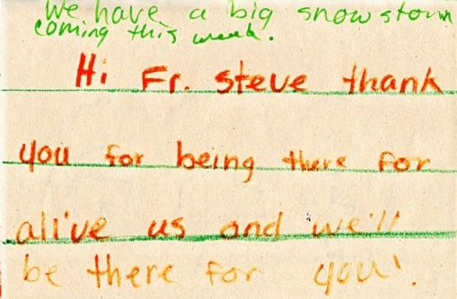 Fr. Steve's get well card from Chandler