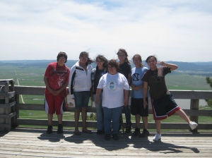 A group of Native American girls on the top of Bear Butte!