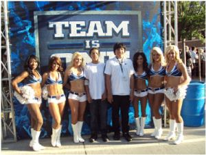 Boys with the Thunder cheerleaders.