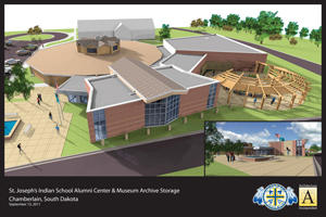 Architect rendering of St. Joseph's Indian School's Historical & Alumni Center – outside view