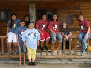 Lakota girls posing for a picture.