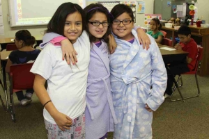Third grade students enjoy the school day in their pajamas.