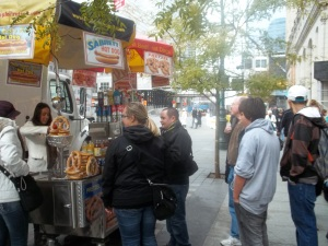 We grabbed a hot dog from a street vendor (another first) outside our hotel!