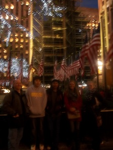 A quick group shot in front of the still-being-decorated Christmas tree at the Rockefeller Center!
