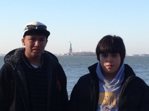 Elliot and Jay with Lady Liberty.
