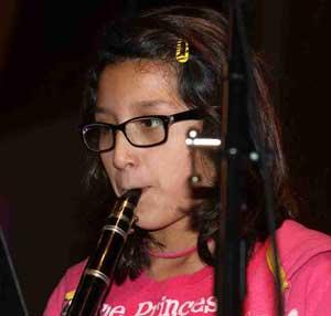 Lakota student learning the clarinet