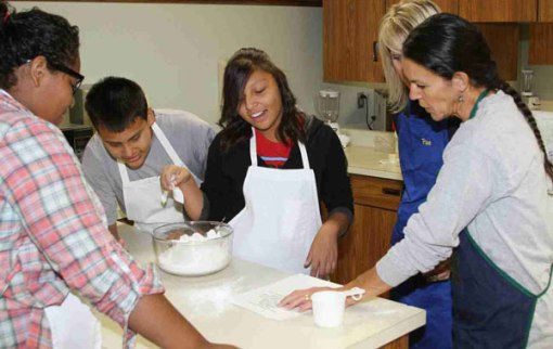 The Lakota students learn to cook in Personal Living Skills class.