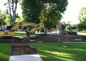 Cement work was done to solve drainage issues on St. Joseph's campus.