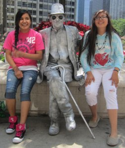 The Native American students took in all the sights of the city, including street performers.