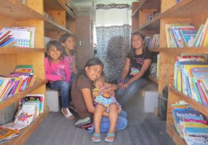 St. Joseph's van is lined with books for the Native American children to choose from.