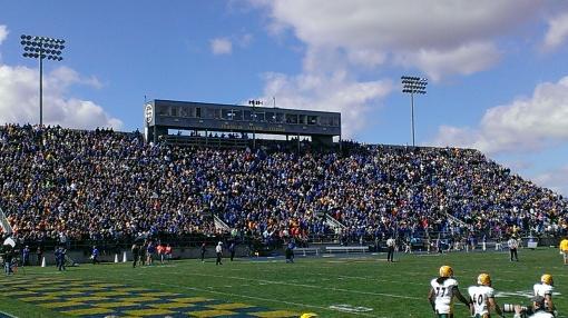 The football field and stadium at South Dakota State University.
