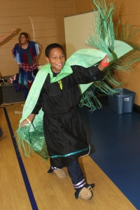 The Regalia Relay was one of many games St. Joseph's students played in celebration of Native American Day.