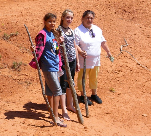 April chaperoned St. Joseph's students on a trip to learn more about their Native American heritage.