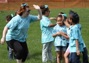 Students in grades 1-5 were divided into teams for St. Joseph's field day.