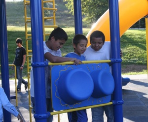 Even the big kids wanted to check out every corner of the new playground.