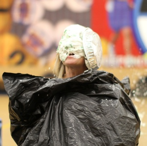 """Julie, our Residential Director for 1st-5th grades, was the """"lucky winner"""" of the pie in the face!"""