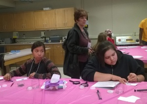 Civil engineering students helped the girls learn about building bridges.
