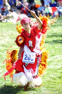 A Lakota (Sioux) youth dances during St. Joseph's 38th Annual Powwow.